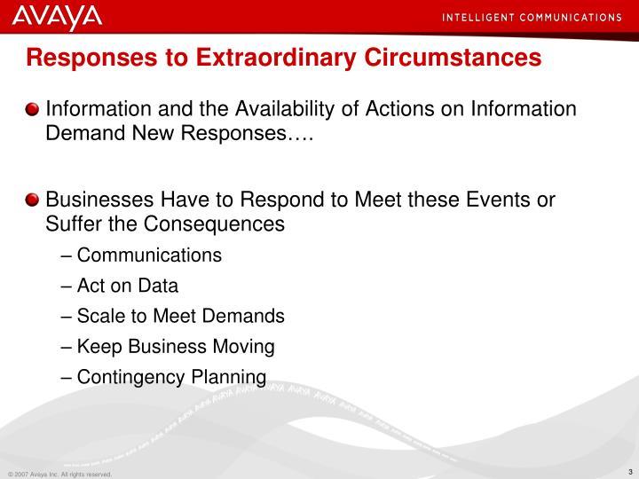 Responses to Extraordinary Circumstances