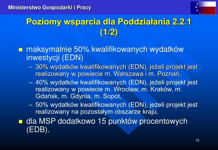 Poziomy wsparcia dla Poddziałania 2.2.1 (1/2)