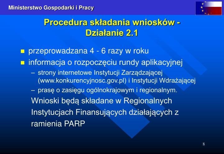 Procedura składania wniosków -