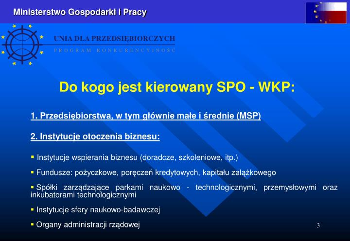 Do kogo jest kierowany SPO - WKP: