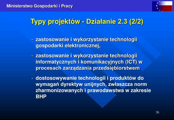 Typy projektów - Działanie 2.3 (2/2)