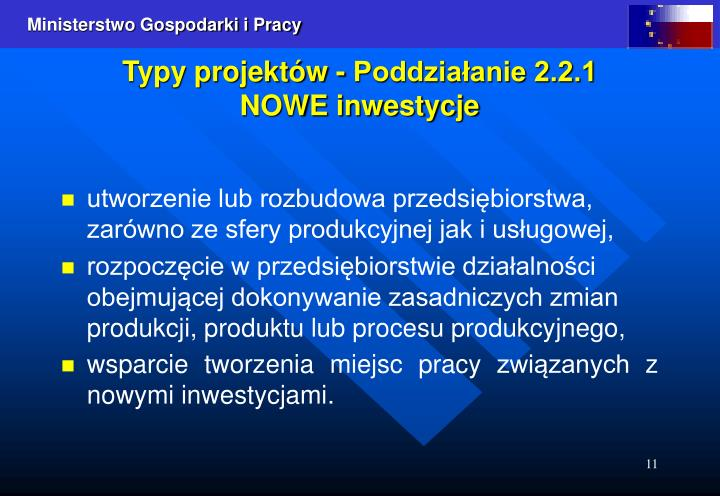 Typy projektów - Poddziałanie 2.2.1