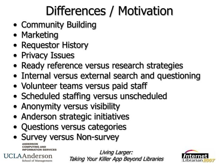 Differences / Motivation
