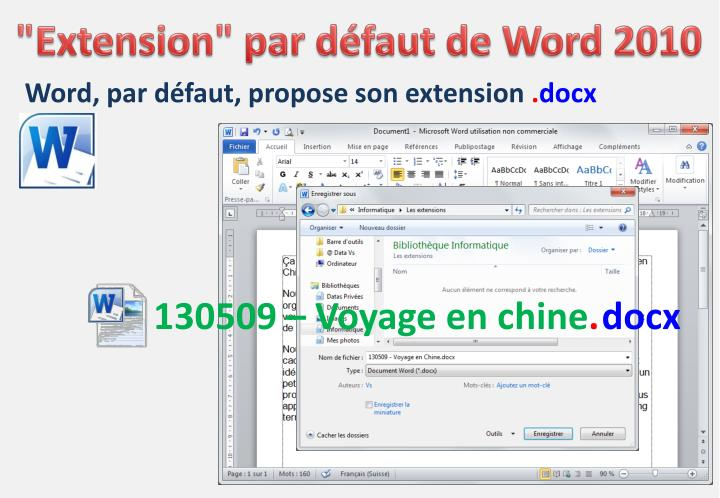 """Extension"" par défaut de Word 2010"