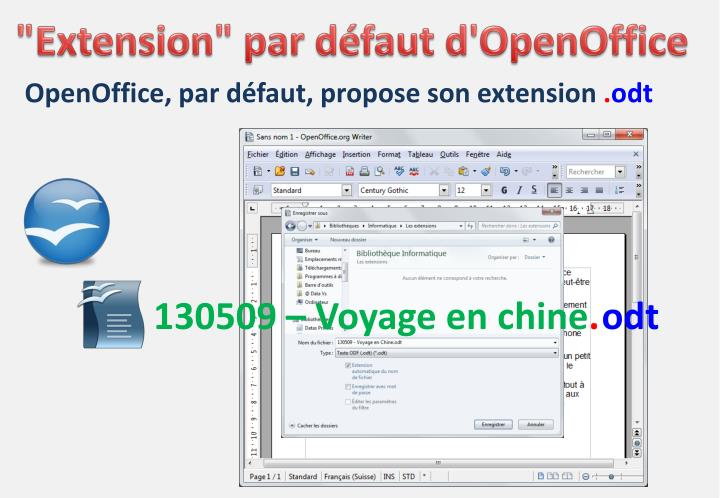 """Extension"" par défaut d'OpenOffice"