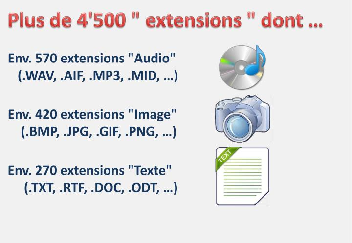 "Plus de 4'500 "" extensions "" dont …"