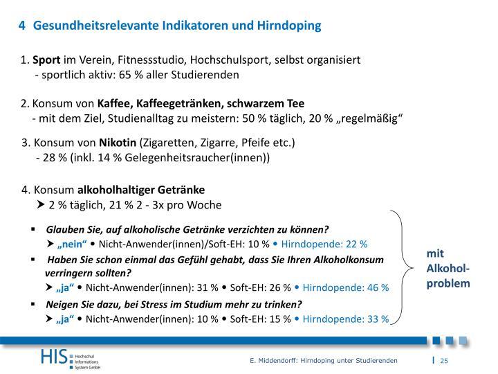 Gesundheitsrelevante Indikatoren und Hirndoping
