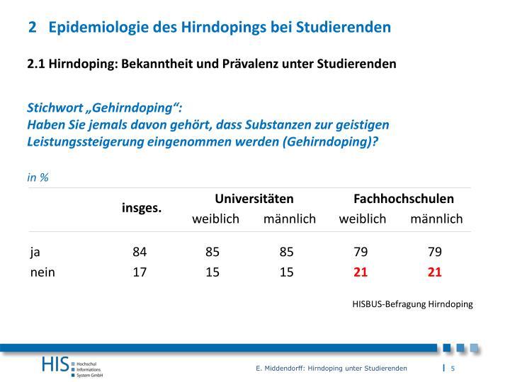 2 Epidemiologie des Hirndopings bei Studierenden