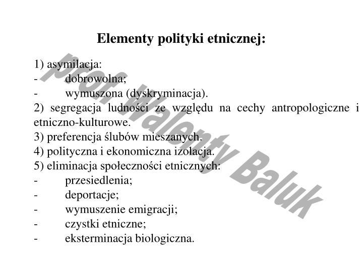 Elementy polityki etnicznej:
