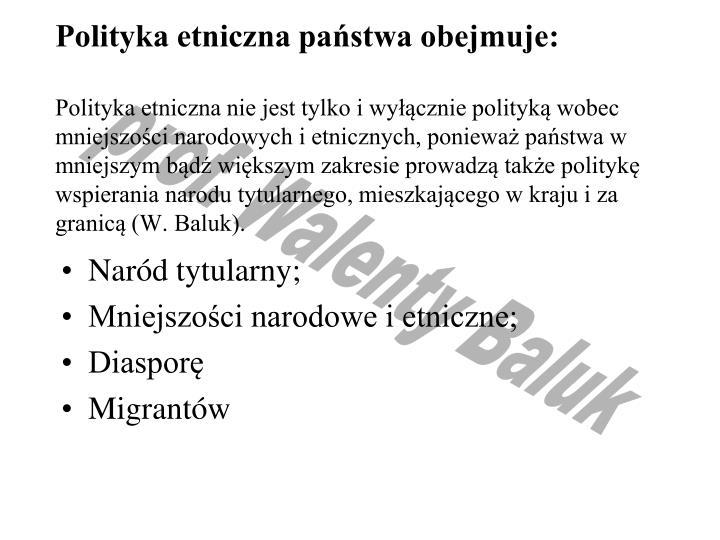 Polityka etniczna państwa obejmuje: