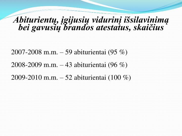 Abiturientų, įgijusių vidurinį išsilavinimą bei gavusių brandos atestatus, skaičius