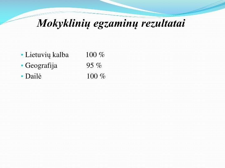 Mokyklinių egzaminų rezultatai