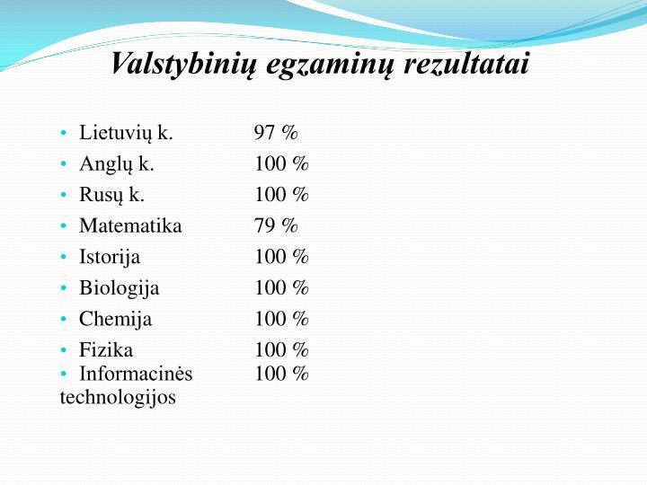 Valstybinių egzaminų rezultatai