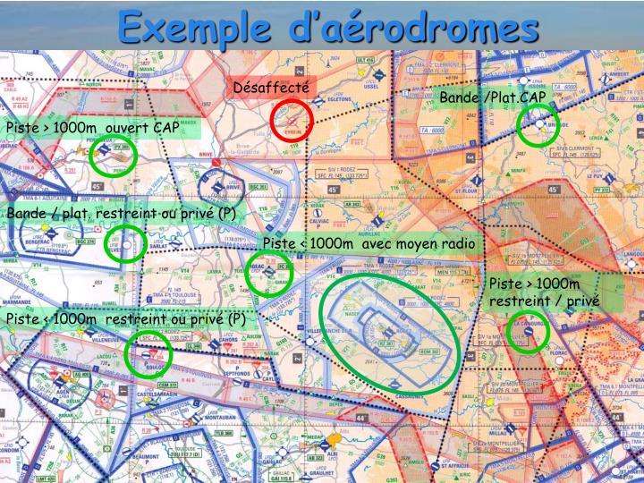 Exemple d'aérodromes