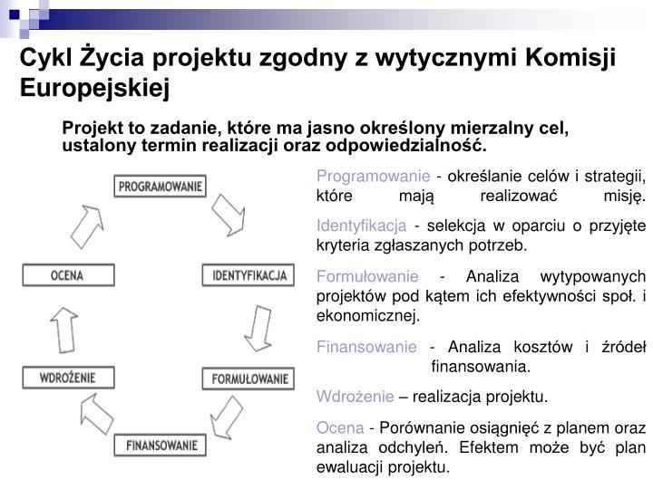 Cykl Życia projektu zgodny z wytycznymi Komisji Europejskiej