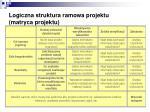 logiczna struktura ramowa projektu matryca projektu