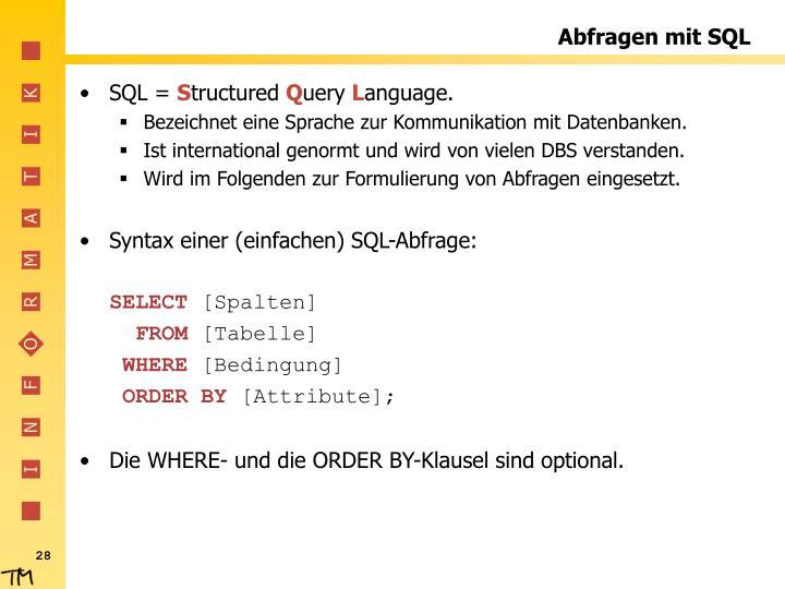 Abfragen mit SQL