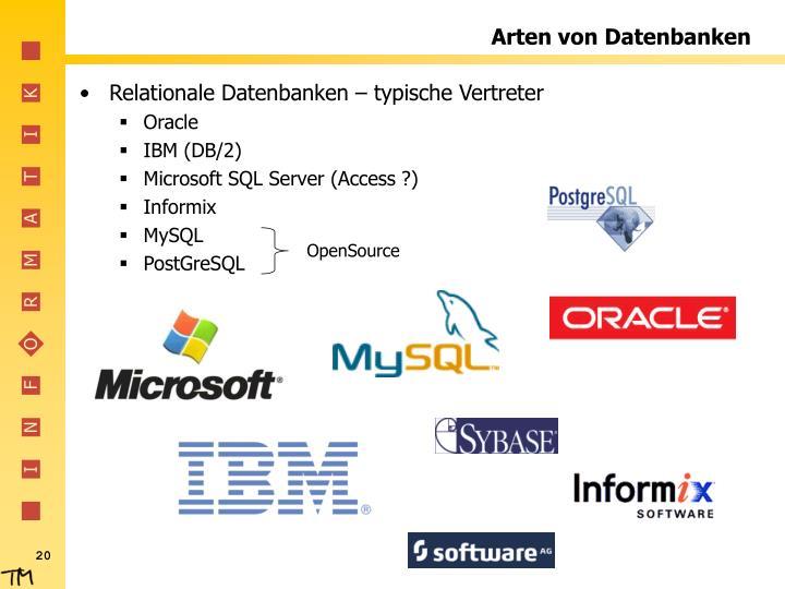 Arten von Datenbanken