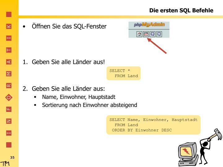 Die ersten SQL Befehle