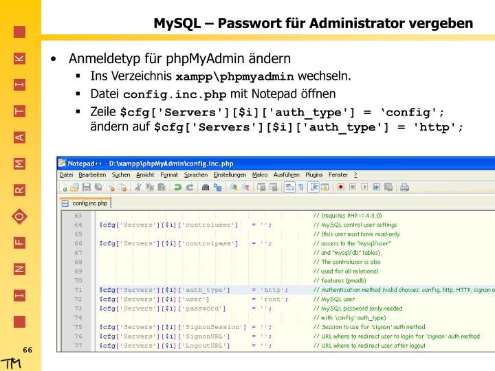 MySQL – Passwort für Administrator vergeben
