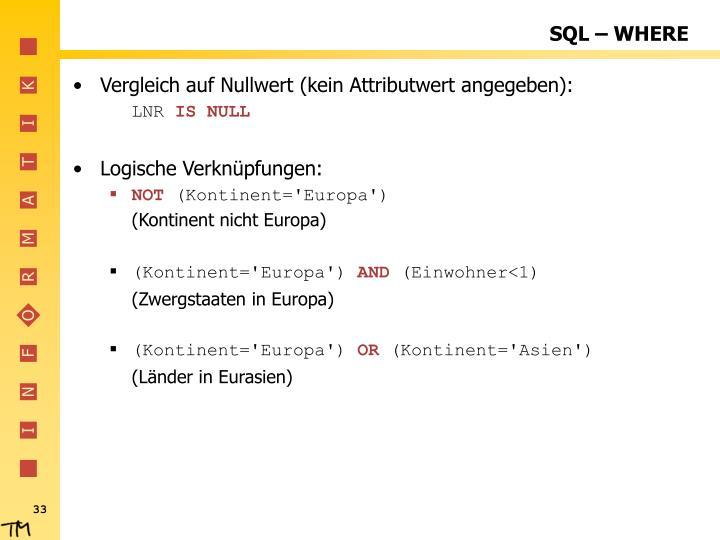 SQL – WHERE