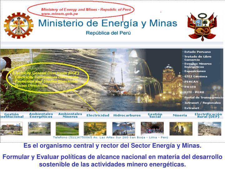 Es el organismo central y rector del Sector Energía y Minas.