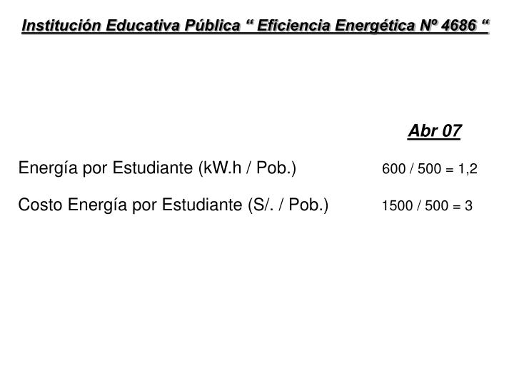 "Institución Educativa Pública "" Eficiencia Energética Nº 4686 """