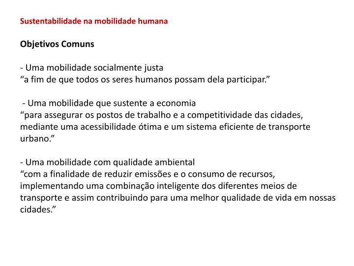 Sustentabilidade na mobilidade humana