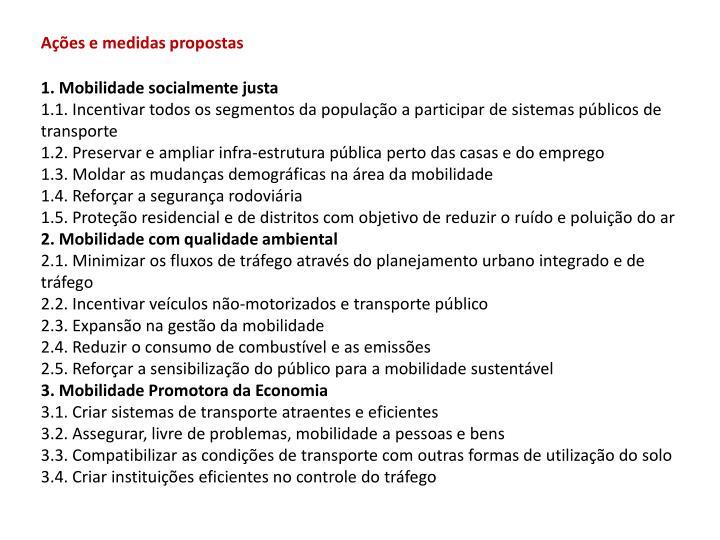 Ações e medidas propostas