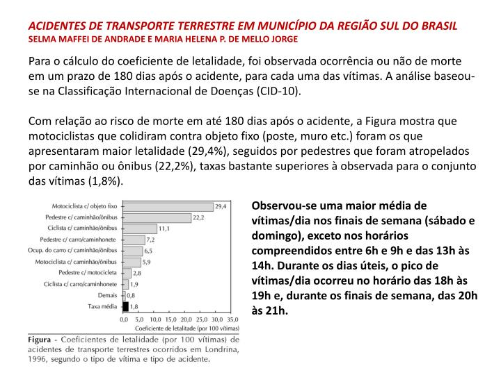 Acidentes de transporte terrestre em município da Região Sul do Brasil