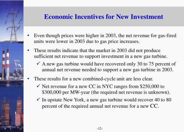 Economic Incentives for New Investment