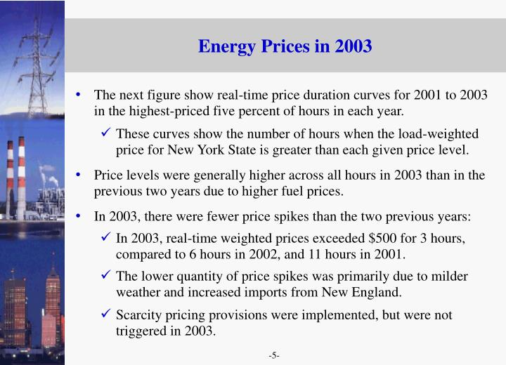 Energy Prices in 2003