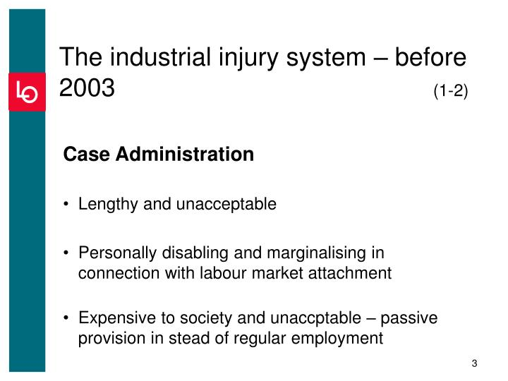 The industrial injury system before 2003 1 2
