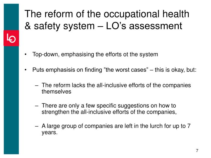 The reform of the occupational health & safety system – LO's assessment
