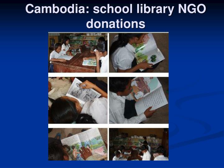 Cambodia: school library NGO donations