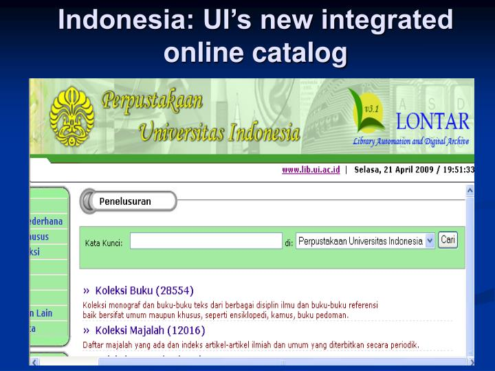 Indonesia: UI's new integrated online catalog
