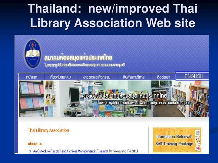 Thailand:  new/improved Thai Library Association Web site