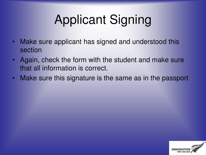 Applicant Signing