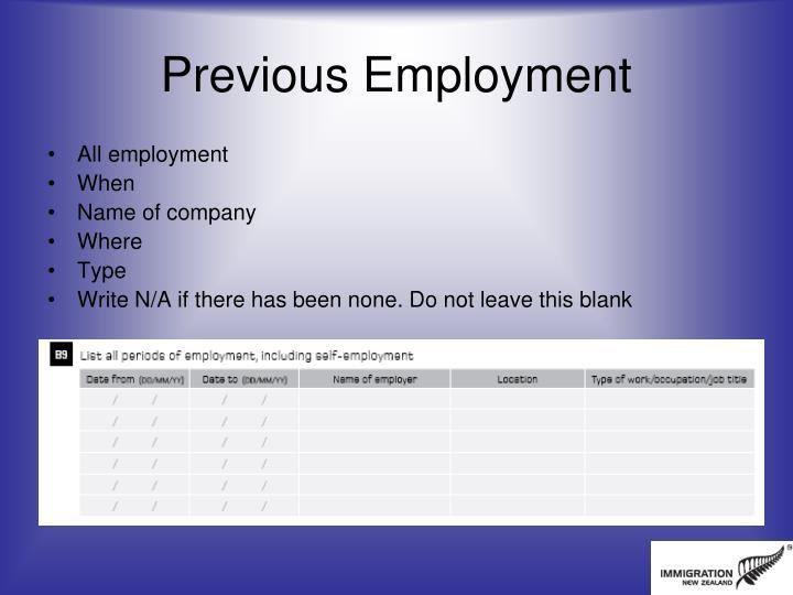 Previous Employment