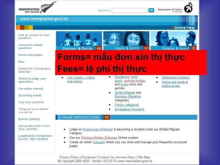 Forms= mẫu đơn xin thị thực