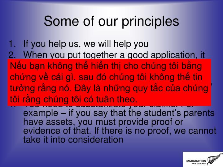 Some of our principles