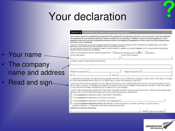 Your declaration
