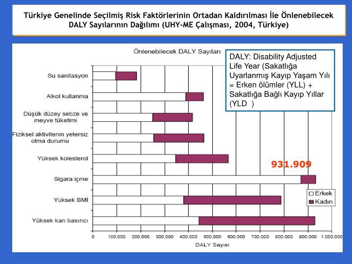 Türkiye Genelinde Seçilmiş Risk Faktörlerinin Ortadan Kaldırılması İle Önlenebilecek DALY Sayılarının Dağılımı (UHY-ME Çalışması, 2004, Türkiye)