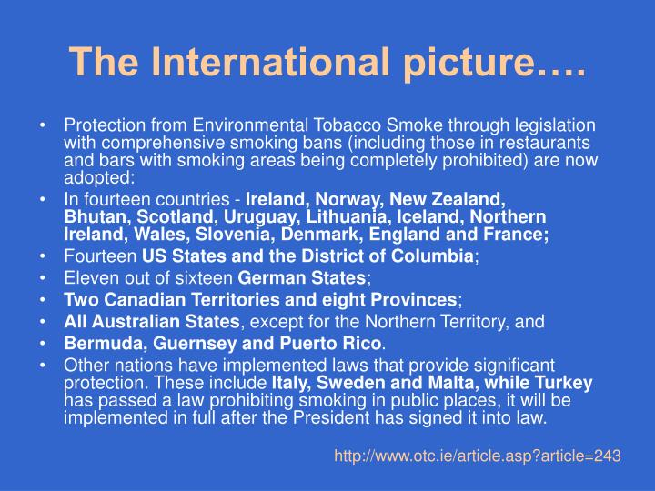 The International picture….