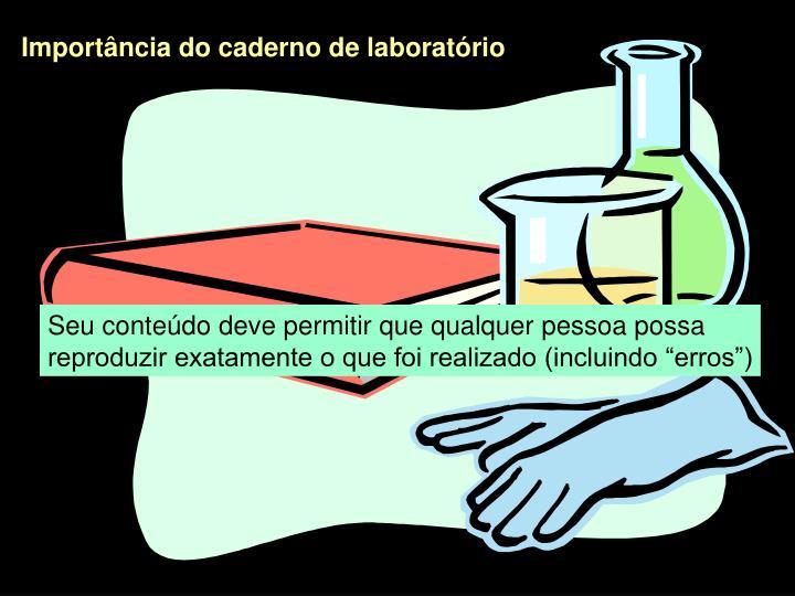 Importância do caderno de laboratório