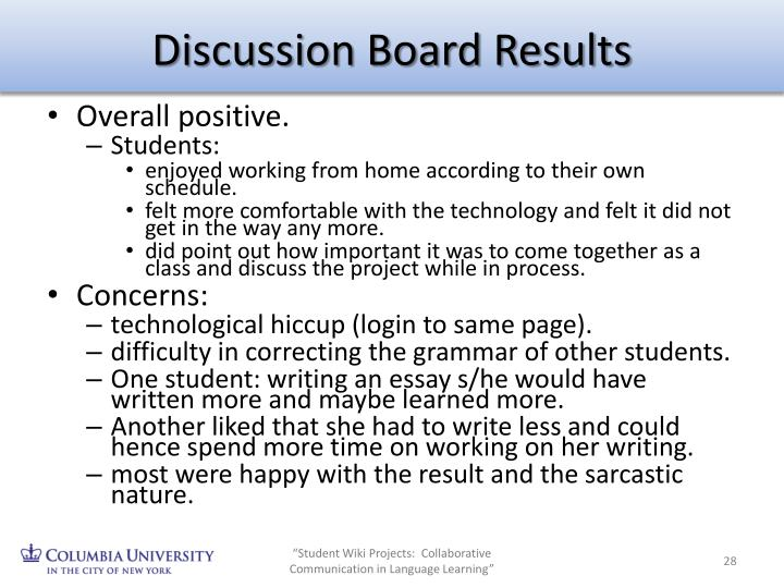Discussion Board Results