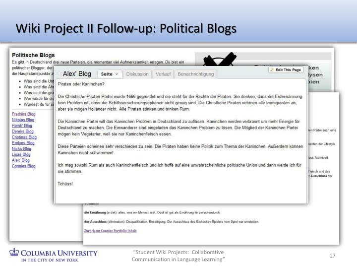 Wiki Project II Follow-up: Political Blogs