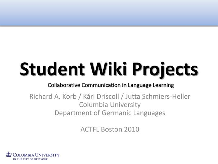Student wiki projects