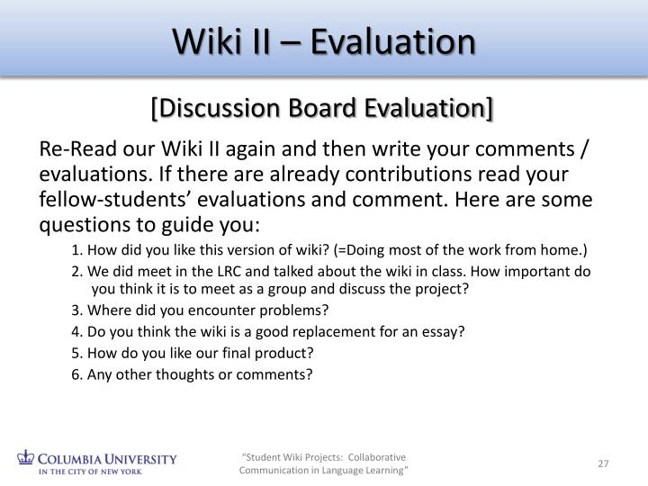 Wiki II – Evaluation
