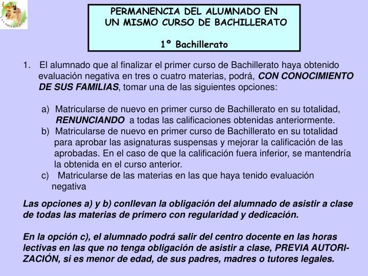 PERMANENCIA DEL ALUMNADO EN